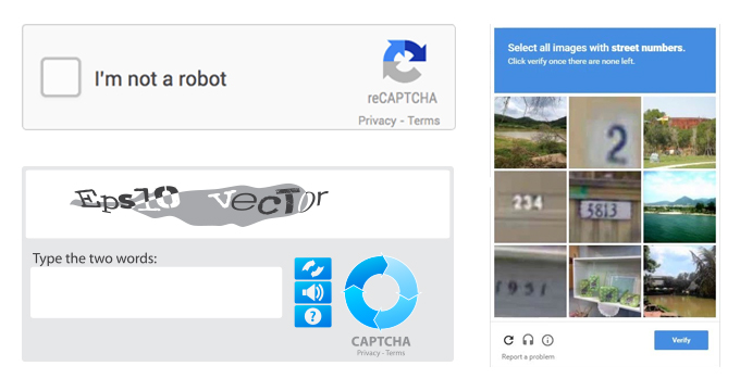 Image showing an example of Captcha security process