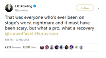 Image of a Tweet from author J. K. Rowling